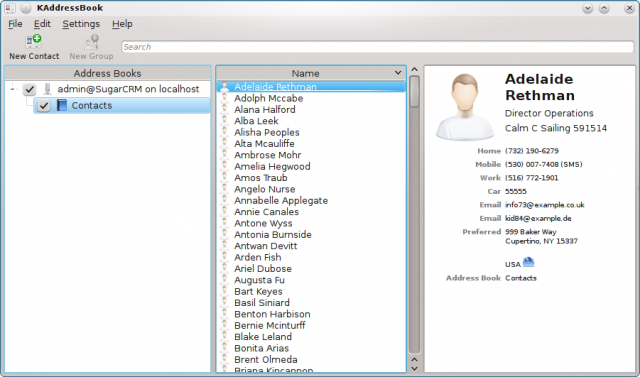 SugarCRM contacts in KDE's addressbook